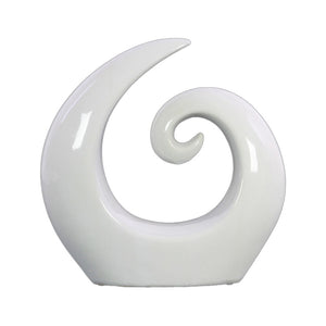 Ceramic Spiral Abstract Sculpture on Base Large Gloss Finish White