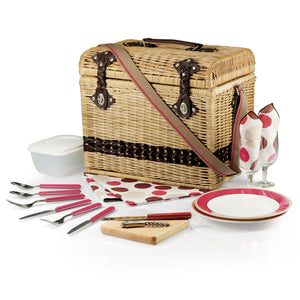Picnic Time Yellowstone Willow Picnic Basket with Deluxe Service for 2, Moka Collection