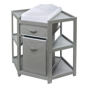 Badger Basket Co. Diaper Corner Baby Changing Table w/Hamper and Basket - Gray