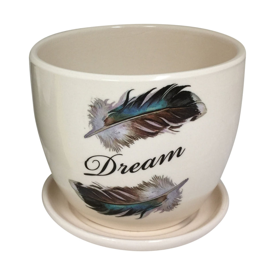 Ceramic Mini Planter And Attached Saucer With Feather And Dream Design