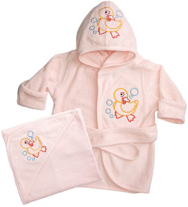 Funkoos Organic Baby Bath Set - Hooded Towels and Hooded Bathrobe - Girl - Newborn/Infant/Baby