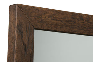 HomeRoots Furniture Modern Dark Oil Stained Aged Solid Oak Frame Mirror