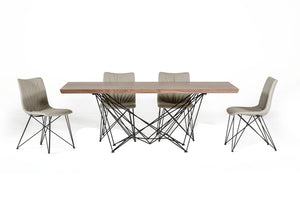 HomeRoots Metal, Veneer Modern Walnut Dining Table