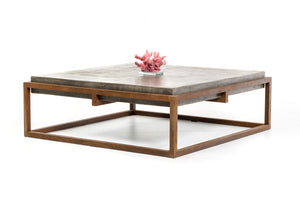 HomeRoots Concrete, Metal Modern Concrete Coffee Table