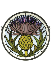 "Meyda Tiffany 28436 Thistle Medallion Stained Glass Window, 17"" Width x 17"" Height"