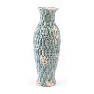 Vase With Jewel-Like Shapes Distressed Blue Ceramic