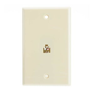 2 Line Telephone Wall Plate, Beige/Ivory, RJ11, 4 Conductor