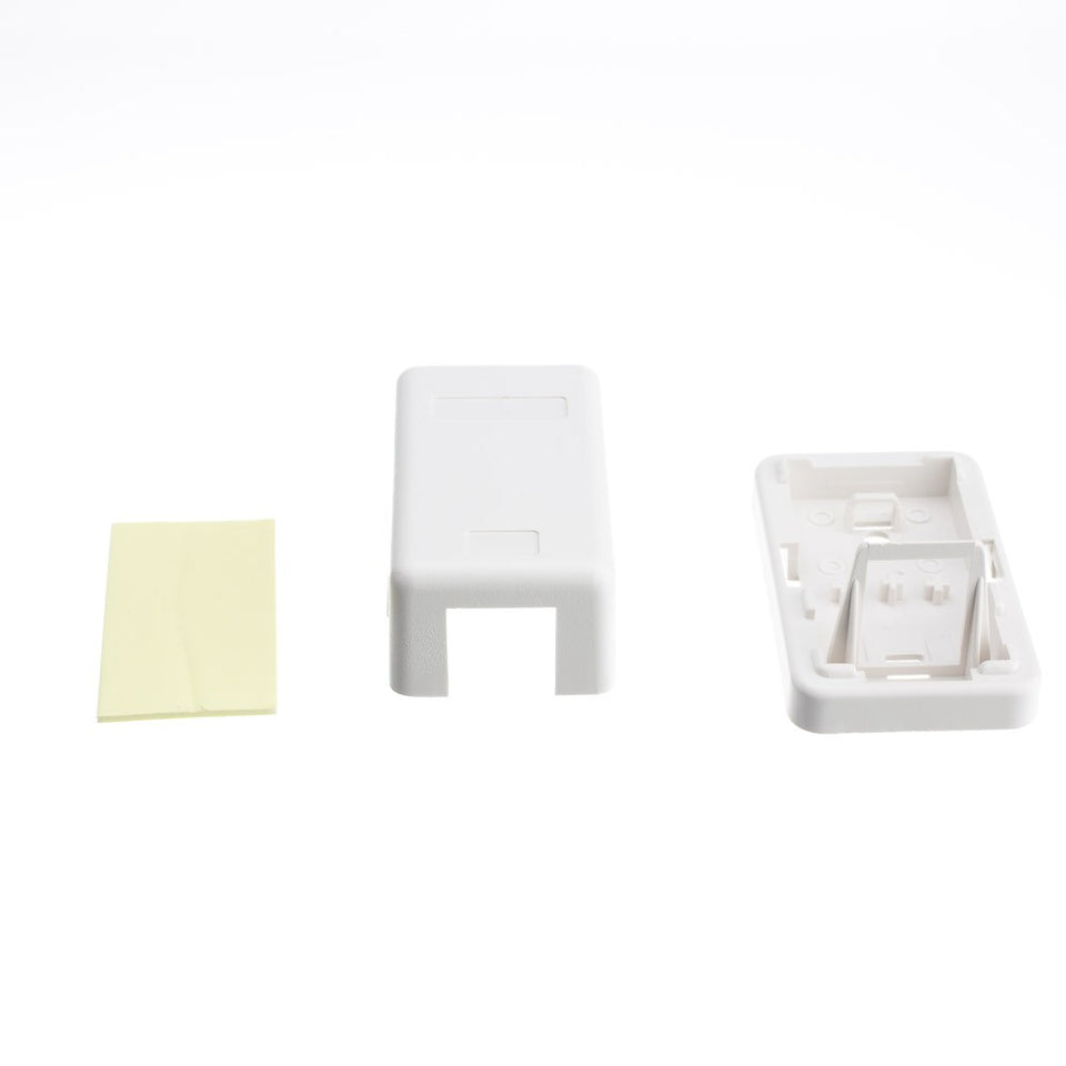Blank Surface Mount Box for Keystones, 1 Hole, White