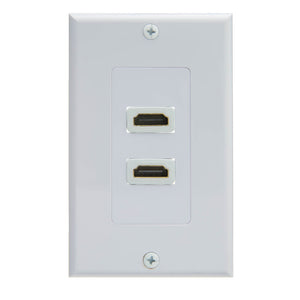 Dual Port HDMI Wall Plate with Strain Relief, White