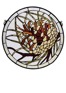 "Meyda Home Indoor Bedroom Wedding Party Decorative Ceiling Lighting 17""W X 17""H Pinecone Medallion Stained Glass Window"