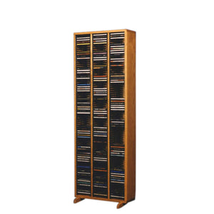 Cdracks Media Furniture Solid Oak Tower for CD Capacity 240 CD's Honey Finish 309-4 (Individual Locking Slots)