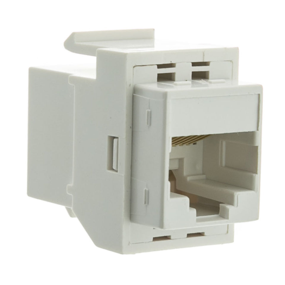 Cat5e Keystone Inline Coupler, RJ45 Female to Female Connector, CableWholesale, White
