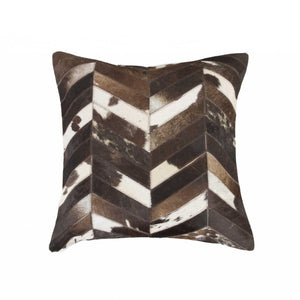 "HomeRoots Kitchen Handcrafted Decorative Square Pillow with Hidden Zipper Closure - 18"" x 18"" x 5"", Chocolate and Natural"