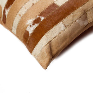 "HomeRoots Kitchen Handcrafted Decorative Square Pillow with Hidden Zipper Closure - 18"" x 18"" x 5"", Brown and Natural"