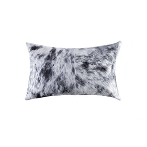 "HomeRoots Kitchen Decorative Black and White Cowhide Pillow - 18"" x 18"" x 5"", Salt and Pepper"