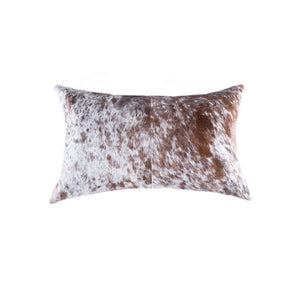 "HomeRoots Kitchen Decorative Salt and Pepper Cowhide Pillow with Hidden Zipper Closure - 18"" x 18"" x 5"", Brown and White"