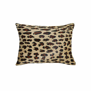 "HomeRoots Kitchen Decorative Square Cowhide Pillow with Hidden Zipper Closure - 12"" x 20"" x 5"", Leopard"