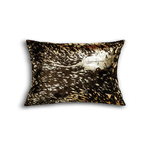 "HomeRoots Kitchen Decorative Cowhide Pillow - 12"" x 20"" x 5"", Chocolate and Gold"