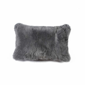 "HomeRoots Kitchen Decorative Rectangular Sheepskin Pillow with Hidden Zipper Closure - 12"" x 20"" x 5"", Gray"