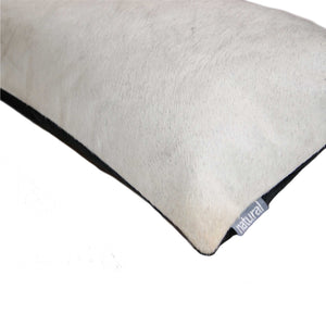 "HomeRoots Kitchen Decorative Cowhide Pillow with Hidden Zipper Closure - 12"" x 20"" x 5"", Off White"