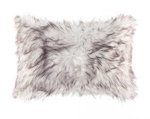 "HomeRoots Acrylic Plush, Polyester, Polyfill 12"" X 20"" Gradient Chocolate Faux Fur Pillow"