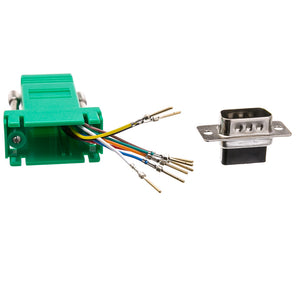 Modular Adapter, Green, DB9 Male to RJ45 Jack