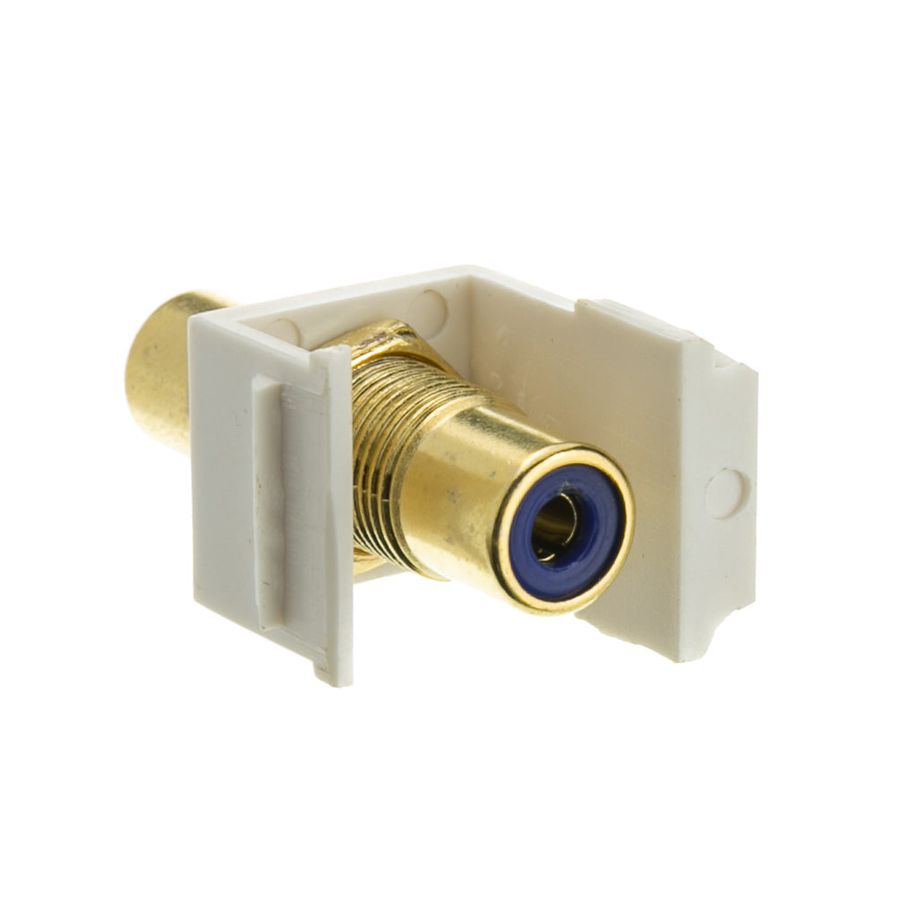 Gold Plated RCA Female to RCA Female, Blue RCA Coupler Adapter with White Keystone Insert, Blue RCA Jack Connector for Audio/Video, CableWholesale