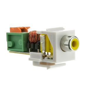 Keystone Insert, White, RCA Female to Balun Over Cat5e (Yellow RCA), Working Distance 350 foot