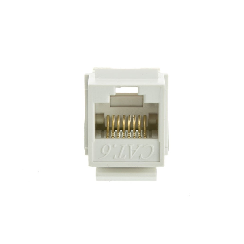 Cat6 Keystone Jack, White, RJ45 Female to 110 Punch Down