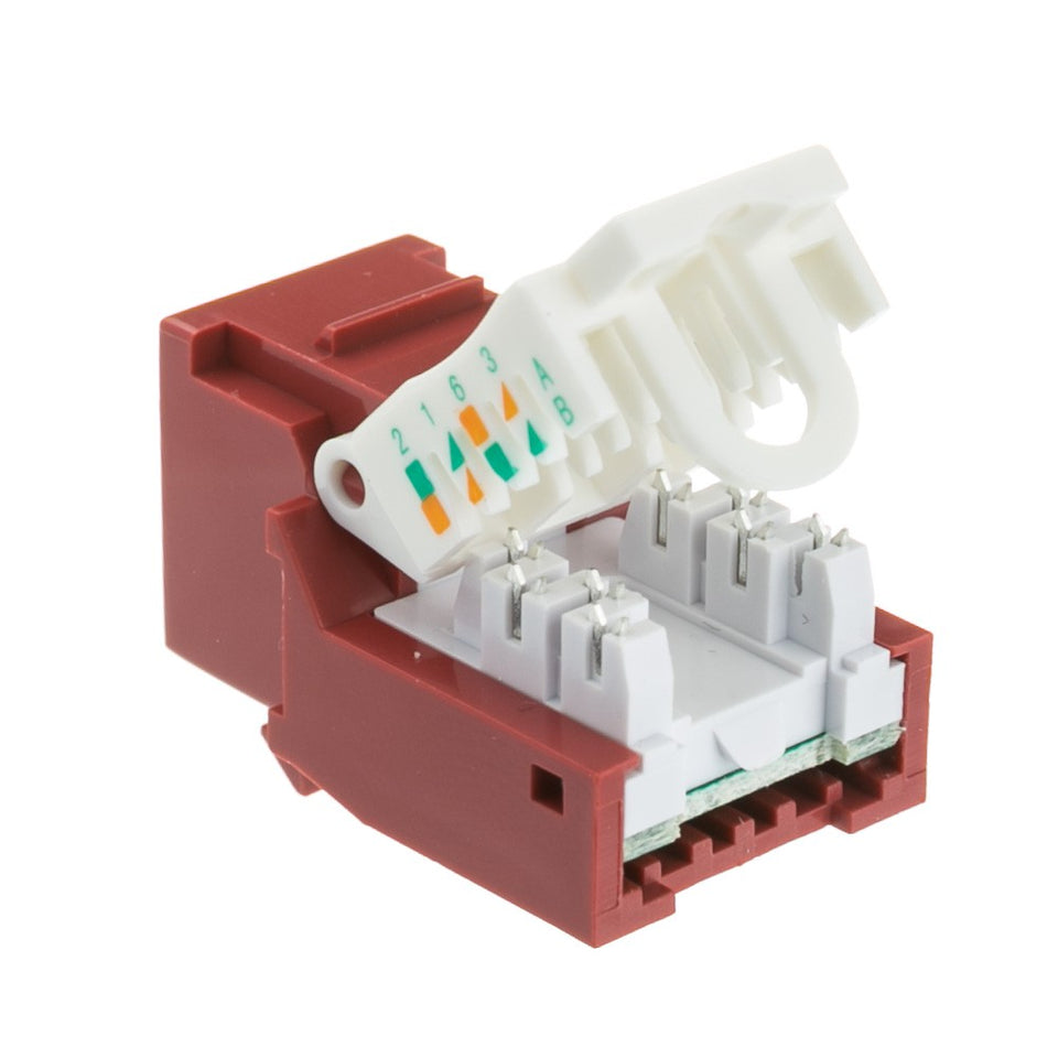 Cat6 Keystone Jack, Red, Toolless RJ45 Female (UTP) to 110 Punch Down Connector, Cablewholesale