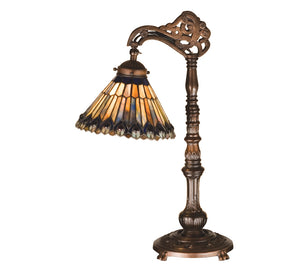 19 Inch H Tiffany Jeweled Peacock Bridge Arm Desk Lamp Table Lamps