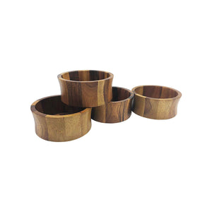 "Kalmar Home Set of 4 Individual Salad Bowls, 6"", Made of Beautiful Acacia Wood"