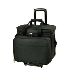 Deluxe Picnic Cooler w/Wheels for 4  -Black/Paris