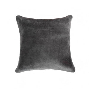 "HomeRoots Decor 18"" x 18"" x 5"" Microsuede Polyfill Throw Pillow - Grey, Nelson Sheepskin"
