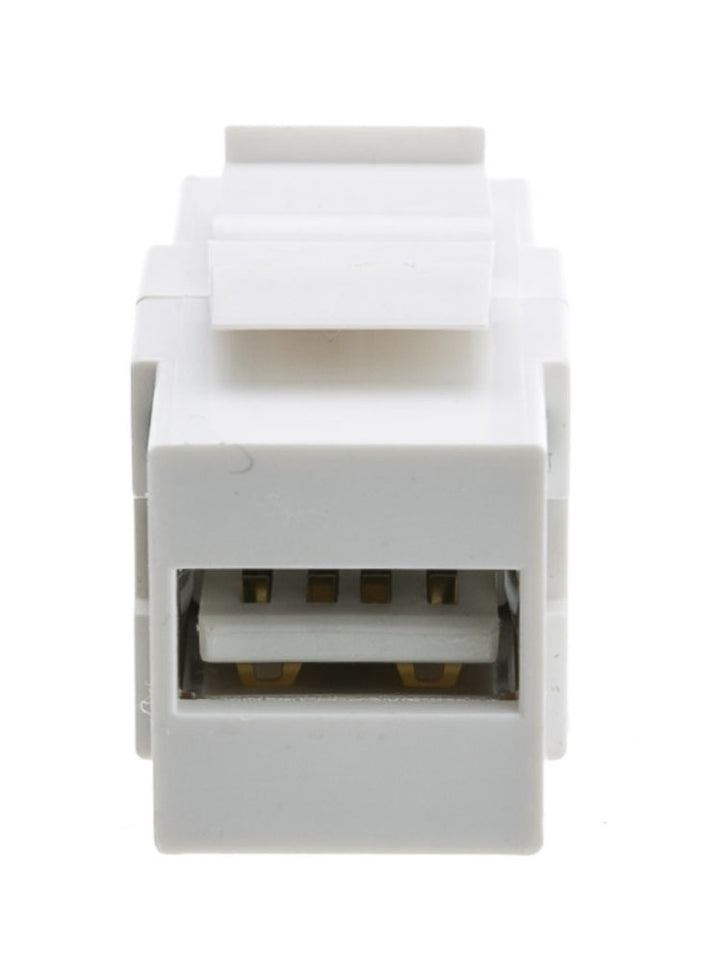 Keystone Insert, White, USB 2.0 Type A Female To Type B Female Adapter (Reversible)