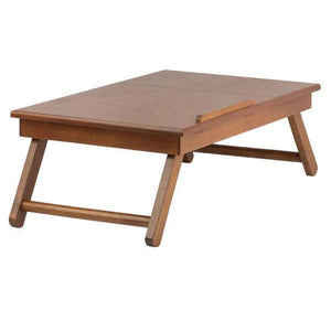 Winsome Anderson, Flip Top with Drawer, Foldable Legs Lap Desk, Teak