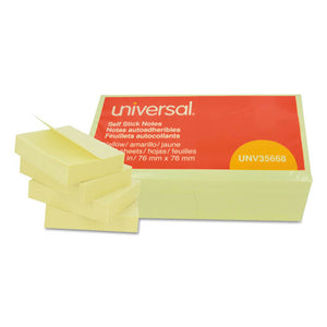Universal Self-Stick Note Pads, 3 x 3, Yellow, 100-Sheet, 12 pack
