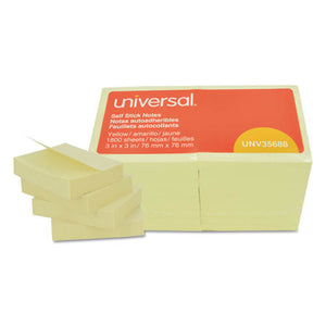Universal Repositionable Self-Stick Note Pads, 3 x 3, 100-Sheet, 18 Pack - Yellow