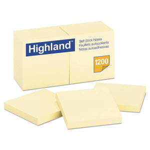 Highland Self-Stick Notes, 3 x 3, Yellow, 100-Sheet, 12 pack
