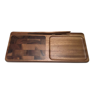 Kalmar Home 364 End Grain Inlay Wooden Cheeseboard with Acacia Wood Knife, Brown