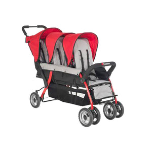 The Trio Sport Triple Tandem Sport Stroller - Red