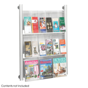 Luxe Magazine Rack - 9 pocket, Silver-SL