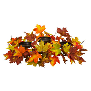Nearly Natural Maple Leaf Artificial Arrangement Candelabrum, Multi/Color