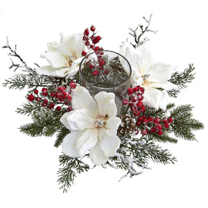 Nearly Natural Magnolia & Berry Artificial Arrangement Frosted Magnolia and Berry Candelabrum, White/Green