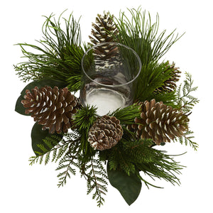 Nearly Natural Artificial 21 Cone and Pine Arrangement Candelabrum, Green