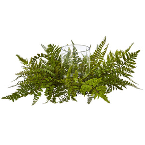 Nearly Natural Mixed Fern Artificial Arrangement Candelabrum, Green
