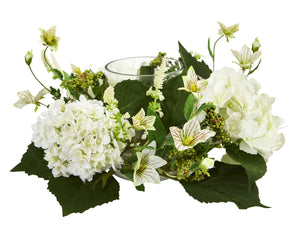 Nearly Natural Hydrangea Artificial Arrangement Candelabrum, White