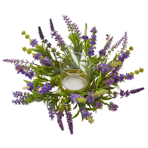 Nearly Natural Lavender Artificial Arrangement Candelabrum, Purple