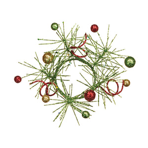 "2"" Green Glitter Pine Red and Gold Ball Candle Ring Pack 4"