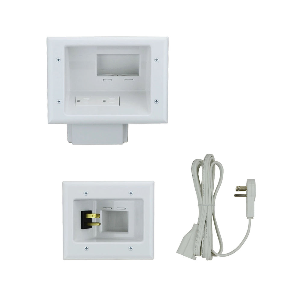 Cable Recessed Pro-Power Kit with Duplex Surge Suppressor and Straight Blade